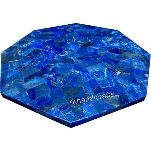 30 Inches Marble Patio Sofa Table Lapis Lazuli Stone Octagon Coffee Table Top