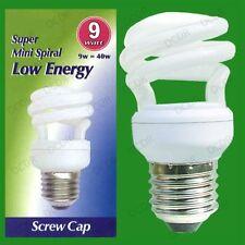 12x 9W Low Energy Power Saving CFL Mini Spiral Light Bulbs; ES, E27 Screw Cap