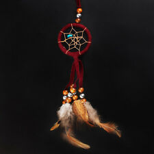 Dark Red and Brown Dream Catcher Hanging Ornament with Feather Bead Indian Style