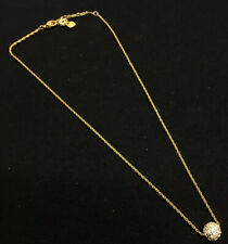 Signed Swarovski Necklace Pave Crystal Ball Pendant Gold Chain 16.5 - 19""
