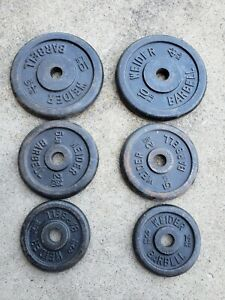 "Lot of Vintage Weider Weights Iron 1"" Barbell Dumbell Plates  2X10LB 2X5LB 2X3LB"
