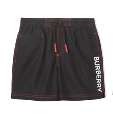 Burberry NEW KIDS Black Logo Print Pockets Drawcord Elastic Swim Shorts SZ 4 YR