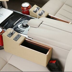 Car Left & Right Side Storage Box Organizer with Cup Holder 4USB Charger Phone