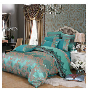 4pc. Luxury Palace Crown Turquoise Blue Tribute Silk Queen King Duvet Cover Set