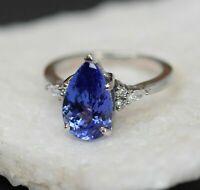 4.10 Ct Blue Tanzanite & Diamond Solitaire Engagement Ring 18k White Gold Finish