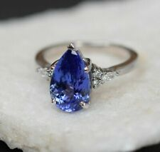 4.10 Ct Blue Tanzanite & Diamond Solitaire Engagement Ring 18k White Gold Finish
