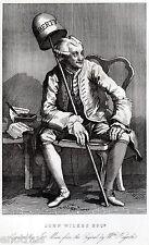 Hogarth: Caricatura di John Wilkes: Cappello della Libertà..Satira. ACCIAIO.1850