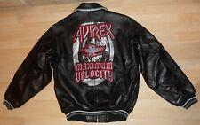 "Men's AVIREX Max Velocity Black Leather Motorcycle Bomber Jacket-Size M-48""Chest"