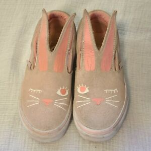 Girls Pink Bunny Rabbit Vans Shoes Size 11.5 Youth