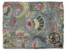 Cotton Kantha Quilt Flower Print Bohemian Grey Bedding Throw Twin & King Blanket