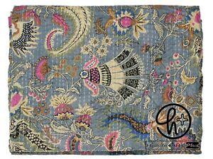 Cotton Kantha Quilt Mukut Print Bohemian Grey Bedding Throw Twin & King Blanket