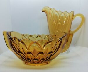 Vintage retro art deco amber brown Stolze Creamer & Sugar depression Glass set