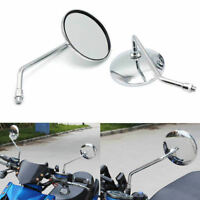Chrome 8mm Side Rearview Mirror For Harley Cruiser Chopper Bobber Softail
