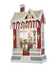 "Kurt Adler 10.25"" LED Santa Toy Shop Glitter Water Lantern House"