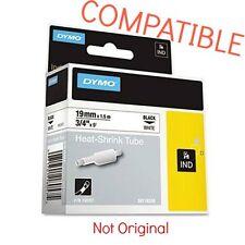 "DYMO Compatible RhinoPRO 19mm HeatShrink Cable Label Tube 3/4""x 5' Blk/Wht 18057"