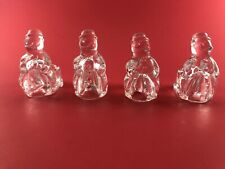 Williams Sonoma 2004 Set of Four Glass Tiny Taper SNOWMAN Candle Holders