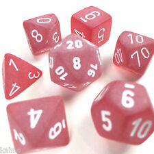 Chessex Dice Poly Frost Red - Set Of 7  White Numbers LE427 - free bag!