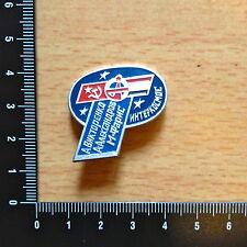 "SPACE Pin Vintage USSR. ""INTERCOSMOS"" Viktorenko Alexandrov Faris. Russia Badge."