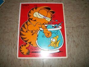1978 Playskool Wooden Puzzle Garfield Jim Davis Lunch Goldfish Vintage Toy