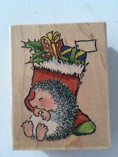Hedgehog Rubber Stamp Penny Black Margaret Sherry Stocking Treat Christmas Wood