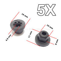 5X  Unthreaded Exterior, Interior Plastic Nuts for BMW, MERCEDES, VW, VAG, SAAB