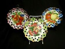 "VINTAGE SET OF 3 ART MARK JAPAN HAND PAINTED FRUIT HANGING COLLECTIBLE 7"" PLATES"