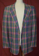 Laughton Hunter Turquoise Pink Madras Plaid Sports Jacket Blazer-42R-NWOT