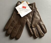 Gloves Genuine Leather Mens Brown 40 gram Thinsulate Lining sz M L XL NEW