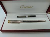 Trinity de Cartier Silver Plated Body Platinum Trim Fountain Pen M Nib ST210004