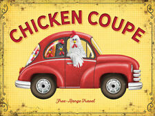 Chicken Coupe Free Range Funny Car Kitchen Farming Small Metal/Steel Wall Sign