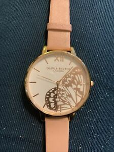 New In Box Olivia Burton Butterfly Wing Large Watch Pink & Rose Gold