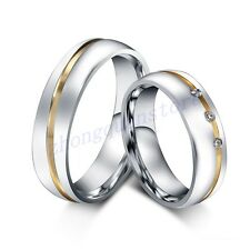 Stainless Steel Promise Ring Gold Silver Men/Women CZ Couple Wedding Band Sz5-12