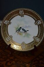 "Gorgeous Nippon Noritake 9"" Wall Game Bird Plaque with Heavy Raised Gold mark#52"