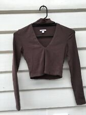 Kookai Brown Choker V Neck Sexy Coral Top Longsleeve Winter Cropped Shirt 1 8 10