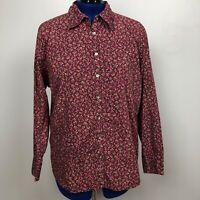 Eddie Bauer Women Size XXL Red Floral Long Sleeve Button Down Shirt 100% Cotton