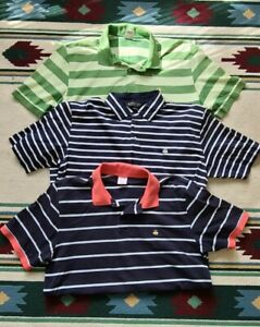 Brooks Brothers Mens XL Striped Polo Lot Of 3 pink green