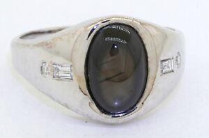 Vintage heavy 14K WG 4.48CTW diamond/11.3 X 7.5mm Black Star sapphire men's ring