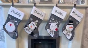 Personalised Christmas Stocking Santa Sack Snowman Xmas Penguin Grey Knitted