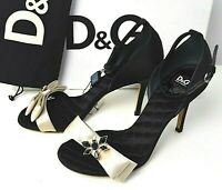 Genuine D&G Silk Embellished Sandals 37 Bows Bees Heels Evening Club Black