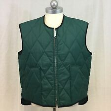 Mens Vintage 1970s Lee Outerwear Quilted Zip Nylon Green Puffy Vest XL