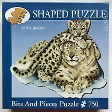 Bits & Pieces 750 Pieces Shaped Jigsaw Snow Leopard & Cub New & Sealed