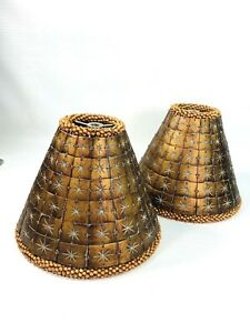 TWO (2) BOVINE COW BONE LAMP SHADES HAND MADE W/100+ TILES BEADED TRIM COPPER