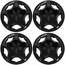 "14"" Set of 4 Black Wheel Covers Snap On Full Hub Caps fit R14 Tire & Steel Rim"
