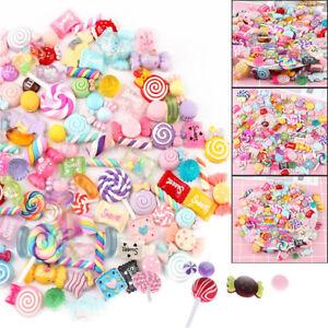 30 Pcs/Pack Slime Beads Candy Flatbacks Resin Flat Back Scrapbooking Charms DIY