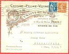 France 20c + 1.50f used on CHASSE PECHE VOYAGE Advertising cover to USA 1937