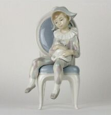 """Lladro """"Young Harlequin"""" Boy On Chair With Cat"""" #1229"""