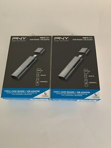 PNY USB-C 3.1 Type-C Card Reader/USB Adapter, Grey, Brand New Sealed Lot Of 2.