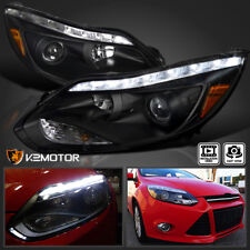 2012-2014 Ford Focus LED Strip DRL Signal Light Bar Projector Headlights Black