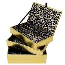 Metallic Gold Stacking Jewellery Box Organiser 3 Section Leopard Jewelry Storage