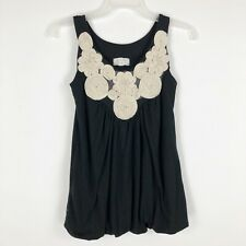KIMCHI BLUE Top Urban Outfitters Small S Tank Embroidered Floral Petals Boho EUC